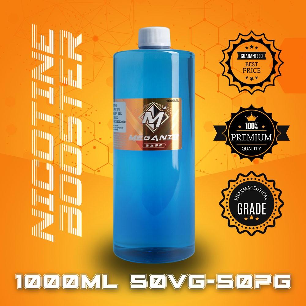 Flavorless Vaping Nicotine Booster Base, Vaping E-Liquid, Meganicotine.com 1000ML Bottle VG / PG