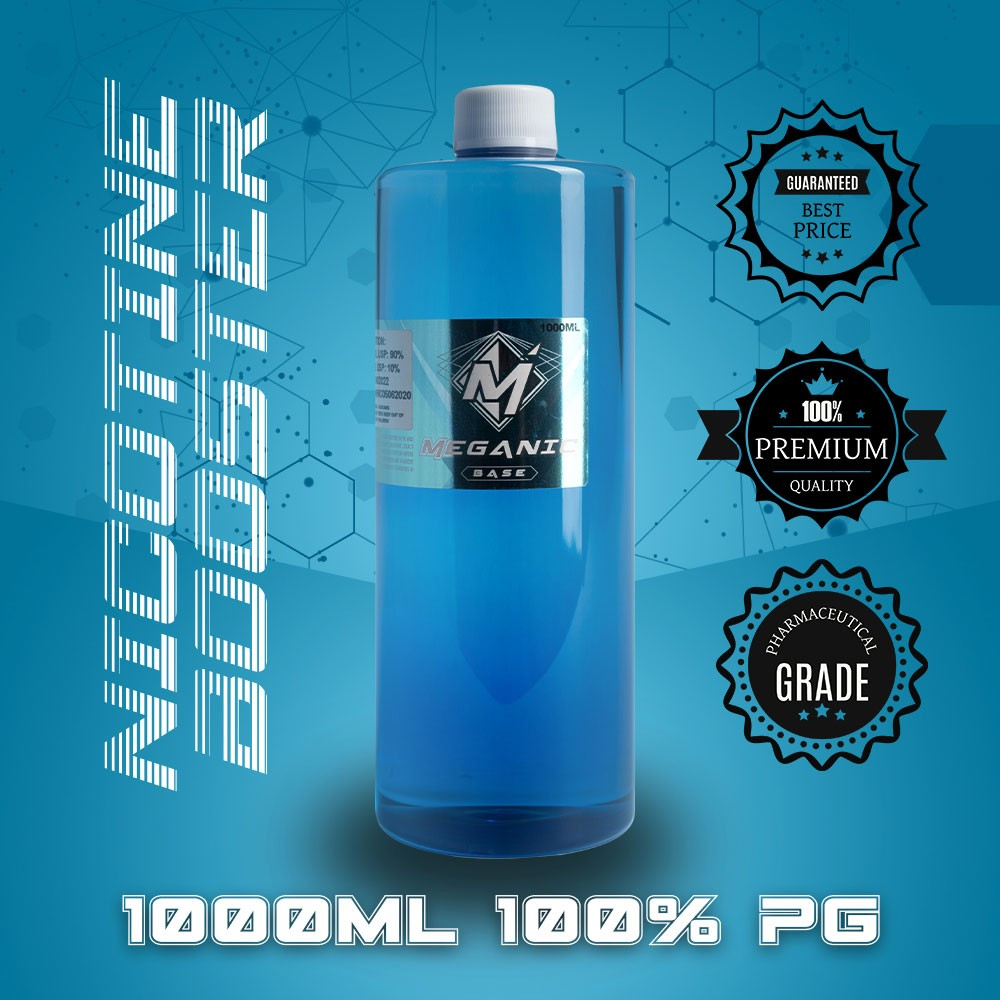 Flavorless Vaping Nicotine Booster Base, Vaping E-Liquid, Meganicotine.com 1000ML Bottle PG