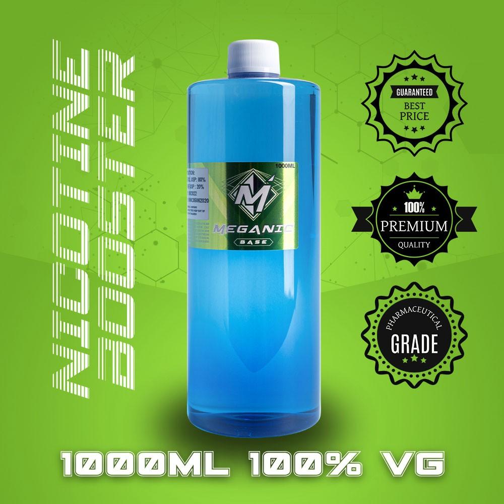 Flavorless Vaping Nicotine Booster Base, Vaping E-Liquid, Meganicotine.com 1000ML Bottle VG