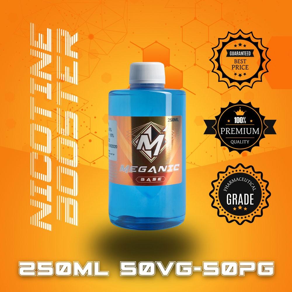 Flavorless Vaping Nicotine Booster Base, Vaping E-Liquid, Meganicotine.com 250ML Bottle VG / PG