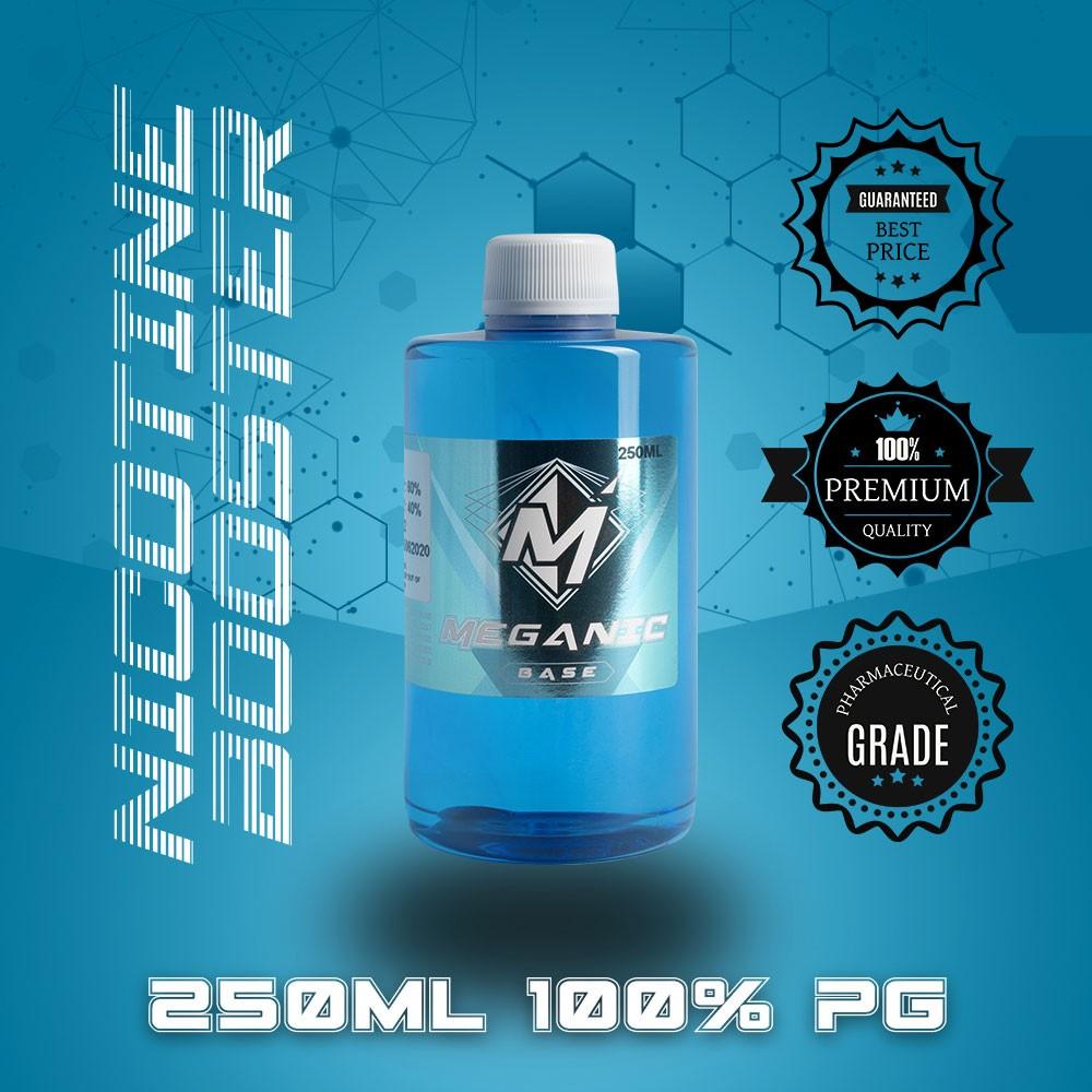 Flavorless Vaping Nicotine Booster Base, Vaping E-Liquid, Meganicotine.com 250ML Bottle PG