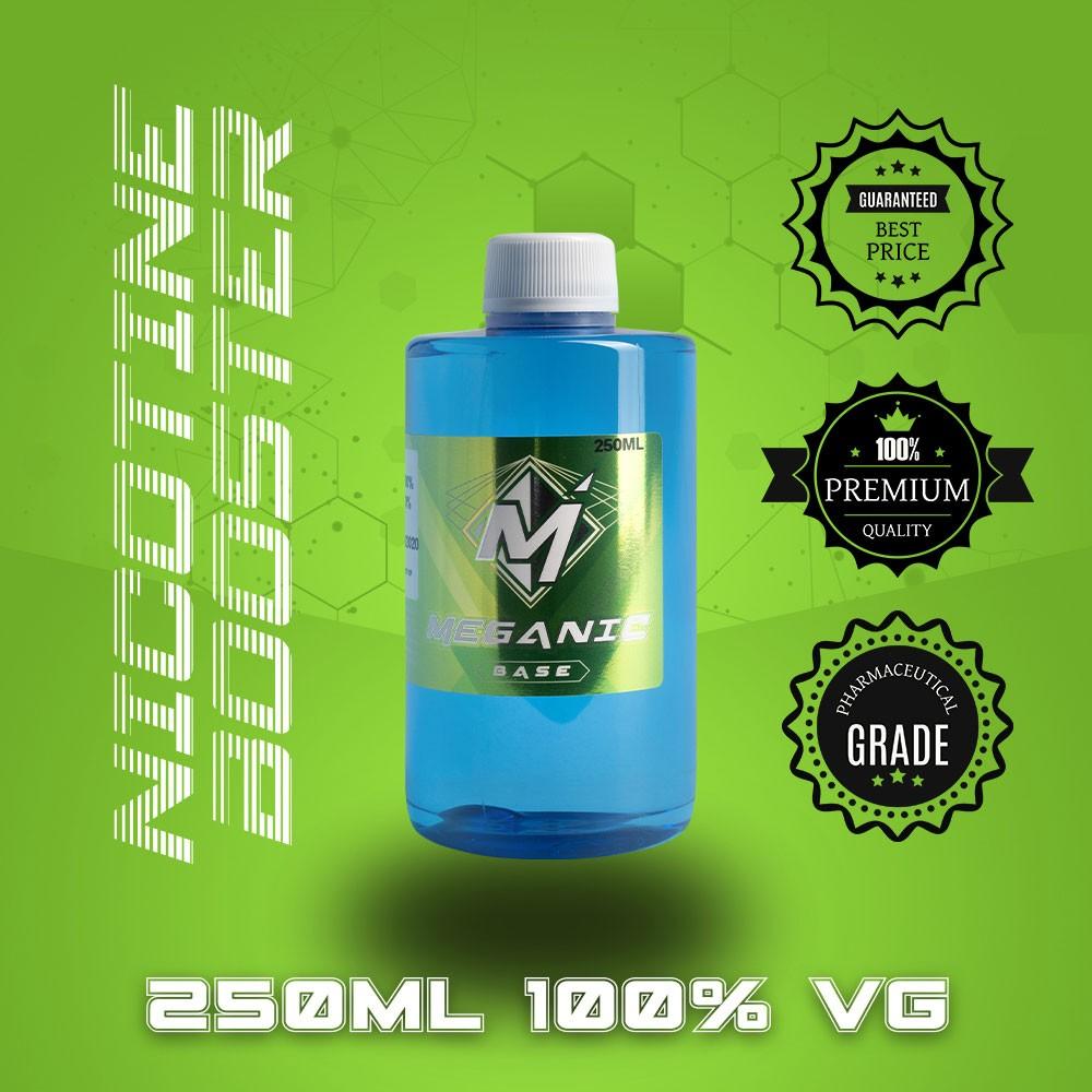 Flavorless Vaping Nicotine Booster Base, Vaping E-Liquid, Meganicotine.com 250ML Bottle VG
